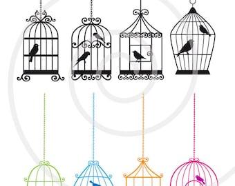 Birdcages with birds, digital clip art set, digital scrapbooking, home decoration, commercial use, PNG, EPS, SVG file, instant download