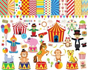 56 Circus clipart , circus clip art ,clowns clipart , circus printable , circus images , lion elephants monkey tiger Ferris wheel clipart