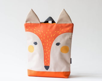Fox backpack, Kids backpack, Children backpack, Printed waterproof backpack