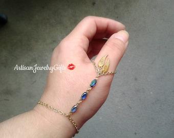 Angel Wings Thumb Hand Chain Thumb Slave Bracelet Boho Hand Chain Blue Antique Gems Slave Bracelet Gold Feather Slave Bracelet Ring Harness