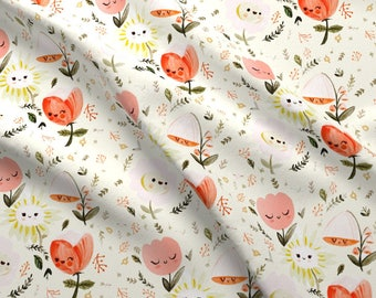 Floral Fabric - Dreamy Spring - Happy Flowers By Babybubbleco - Modern Nursery Baby Floral Cotton Fabric By The Yard With Spoonflower