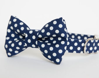 Bow Tie Dog Collar - Navy Polka Dots