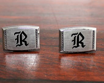 Vintage Silver Tone Cuff Links Hickok Black Intial R Mid Century