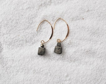Gold filled earrings with pyrite - NANGA