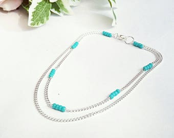 Boho anklet, turquoise anklet,layered anklet,delicate anklet, boho jewellery, ankle bracelet, summer jewellery, gifts for her, beach jewelry