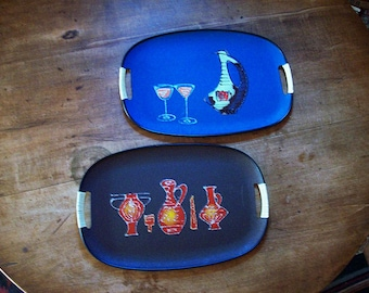 vintage mid century cocktail tray set 1960s retro rockabilly bar decor kitsch