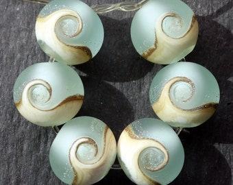Lampwork Rounds (6) Pale Aquamarine Etched Ocean Wave