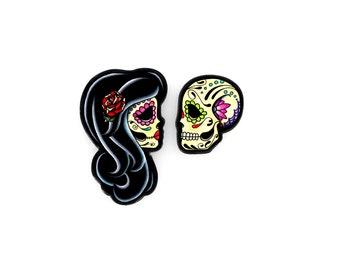 Ashes Earrings - Day of the Dead Kissing Sugar Skull Lovers Post Earrings