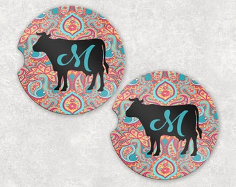 Cow Paisley Monogram Auto Car Coasters (set of2), Absorbent Sandstone Personalized Car Coasters (set of2) Gift Ideas