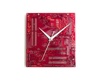 Large Red Wall Clock, Circuit Board Clock, Original Clock, Unique Gift, Boyfriend Gift, Husband Gift, Birthday Gift, Dad Gift, Geek Gift