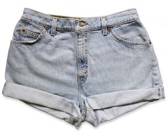 Vintage 90s Levi's Light/Medium Blue Wash High Waisted Rise Cut Offs Cuffed Rolled Jean Denim Shorts – Size 30