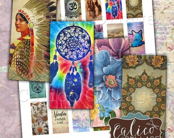 Boho Mix, Boho Collage Sheet, 1x2 Domino Images, Printable Ephemera, Instant Download, Bohemian Images, Domino Collage Sheet, Tribal Images
