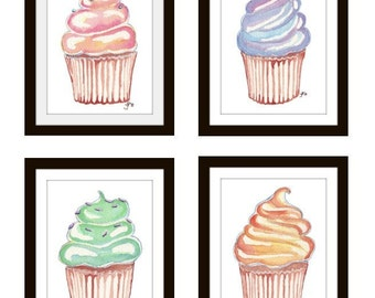Children Illustrations, Set of 4 Cupcake Prints Wall Art, 5x7