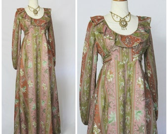 Vintage 70's This is Yours San Francisco Voile Prairie Koi Fish & Butterfly Maxi Dress Boho peasant