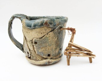 Weirdly Shaped Rustic Mug, Primitive Wonky Vessel, 11 oz Distorted Funky Coffee Mug, Asymmetrical, Unique Stoneware, Patched, Slate Blue