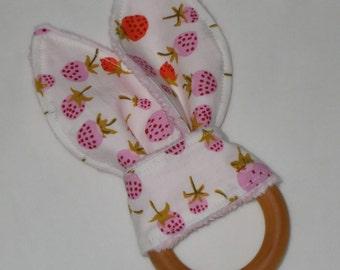 Strawberries Rabbit Ears Wooden Teething Ring