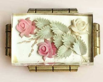 Cheerful, Circa 1940s, Carved Flowers In Lucite Brooch