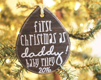 First Christmas As Daddy Ornament - Hand Drawn, Custom New Parent Gift, New Baby Ornament, Dad Ornament, Personalized Ornament, New Dad Gift