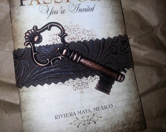 Old World Vintage Passport Wedding Invitation Booklet Digital Any Location! Key & Band not included Rustic Wedding DIY Invite