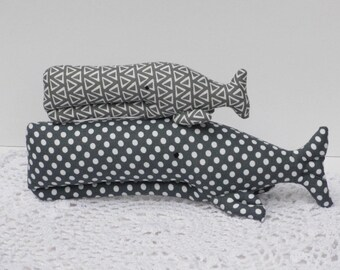 Stuffed whales, whale toys plush gray aquatic toys Nautical Whale toys Stuffed whale toy polka dots plushie whales nursery baby room decor