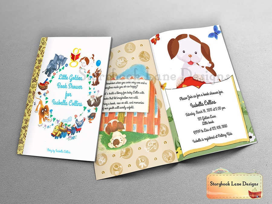 Little Golden Book Theme Baby Shower Invitation or All