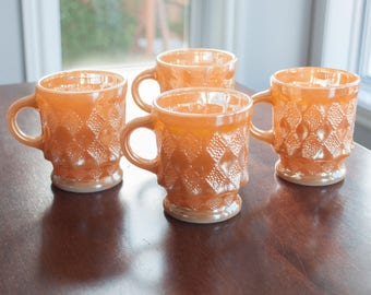 Vintage orange mug FireKing Kimberly - Peach Vintage Coffee Cups