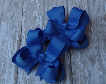 """Girls Hair Bows Capri Blue Boutique 3"""" Double Layer Hairbows Set of 2 Pigtail Bows Blue Pigtail Bows Blue Hair Bows"""