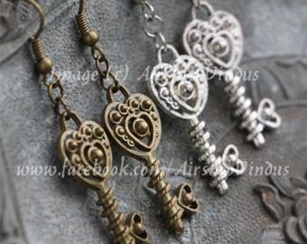 Ornate Heart Key Earrings, Choice of Bronze or Silver