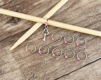 O Ring Stitch Markers, Key Stitch Marker, Round Stitch Markers,  Key Progress Charm, Gifts for Knitter, Knitting Tool, Snag Free