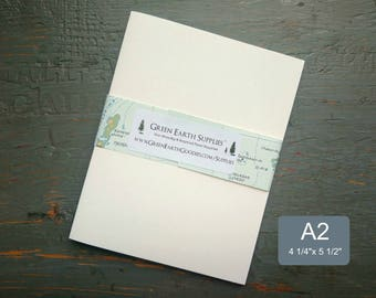 """25 A2 Folded Cards, 100% Recycled Blank Invitations/Note Cards/Thank You Cards, 4 1/4 x 5 1/2"""", 80-100lb, white or natural white"""
