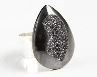 20% Off with code 20OFF2014  --  Titanium Silver Druzy Ring - Hammered Gunmetal Drusy Metallic Geode Teardrop