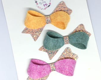 Spring Glitter & Felt Sophia Bow Hair Accessory (headband or clip)