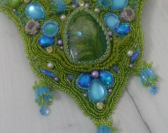 Green Necklace, After the rain, Big Necklace, Leather Bib Necklace, Bead Embroidery, Exclusive Jewelry, Designer jewelry, Mothers day