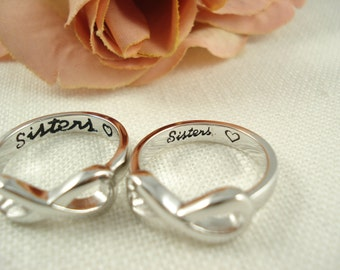 "Sterling Silver Set of 2 Infinity Rings...  ""Sisters with a heart"" custom engraved ring , big and little sisters ring, forever and always"