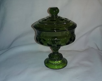 Vintage Indiana Glass Kings Crown Thumbprint Green Compote Candy Dish with Lid