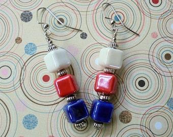 Red, White and Blue Patriotic Cube Earrings (3323)