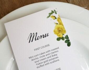 Wedding Menu, Printable Menu, Rose Menu, Printable Menu Template, Wedding Menu Template, Wedding Menu Cards, Vintage, Floral, Wedding Decor