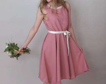 SALE - BELLE - Bridesmaid Dress - Rose pink chiffon bridesmaid dress, prom style, full circle