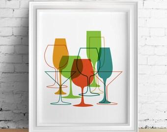 Colorful Wine Glass Decor, Colorful Wine Glass Poster, Wine Poster, Wine, Wine kitchen decor, Wine print, Wine poster, Wine wall art, Vino