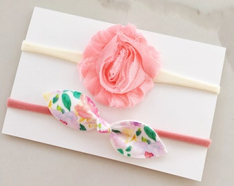 Flower Duo - on headband - baby - girl