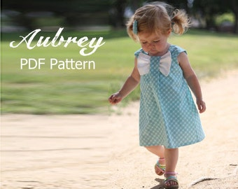 Aubrey - Bow Dress Sewing Pattern. Girl's Dress Pattern. Toddler Pattern. PDF Pattern. Sizes 12m-8 included