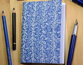 Small illustrated notebook - Blue Ink - pattern 3