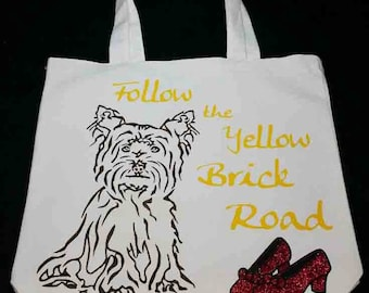 The Wizard of OZ  Follow the Yellow Brick Road Trick or Treat Bag Toto Ruby Slippers Halloween Bag