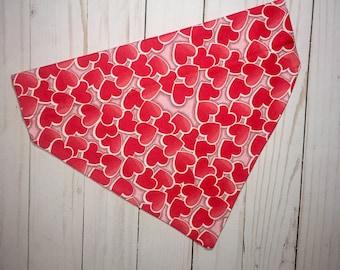 Valentine Dog Bandana, Valentine's Day Dog Bandana, Heart Dog Bandana, Over the Collar Dog Bandana, Valentine's Day, Dog Bandana