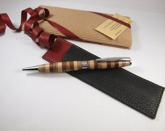 Segmented wooden ballpoint pen