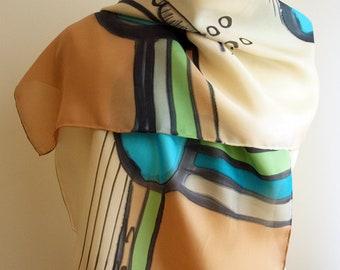 "Handpainted Silk Scarf.Silk Scarf. Hand Painted Silk Shawl. Wedding Gift. Silk Art. 55""x18""(140x45 cm) Woman gift. Mother gift. Ooak scarves"