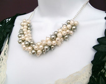 Ivory and Silver Pearl Beaded Necklace, Bridesmaid, Bridal Jewelry, Cluster Necklace, Chunky Necklace, Bridesmaid Gift, Wedding