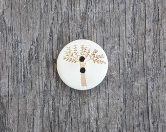 Set of 5 wooden buttons, severe, tree, 20mm