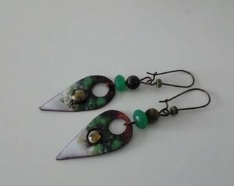 Arrows - enameled copper earrings