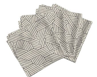 Cloth Dinner Napkins - Tiki Rattan 1b by Muhlenkott - Tiki Art Deco Geometric Lines Cotton Napkins (Set of 4) by Roostery Spoonflower